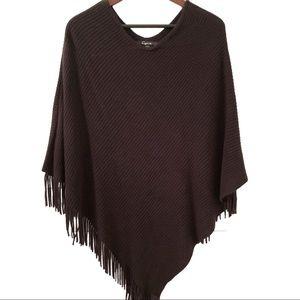 Cejon Fringe Blanket Soft Black Poncho OSFM